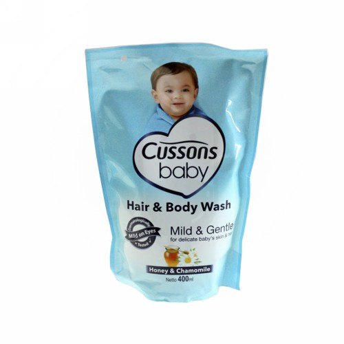 CUSSONS BABY HAIR & BODY WASH MILD AND GENTLE 400 ML POUCH