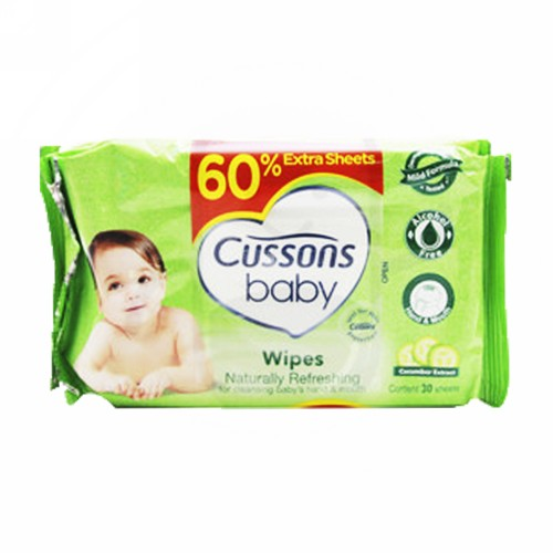 CUSSONS BABY WIPES NATURALLY REFRESHING PACK 50 PCS