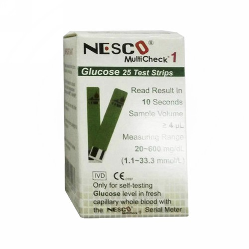 NESCO GLUCOSE TEST STRIPS BOX 25 PCS