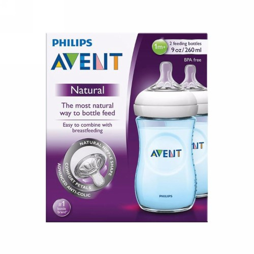 PHILIPS AVENT NATURAL BOTOL SUSU BAYI WARNA BIRU 260 ML BOX 2 PCS