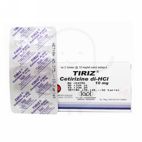 TIRIZ 10 MG BOX 30 TABLET