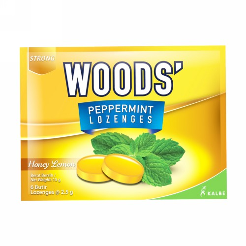 WOODS TABLET HISAP PEPPERMINT RASA HONEY LEMON SACHET 6 BUTIR